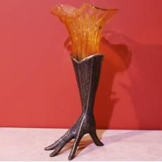 "Ваза ""Перчатка"" коричневая со стеклом амбра VenturiArte 461"