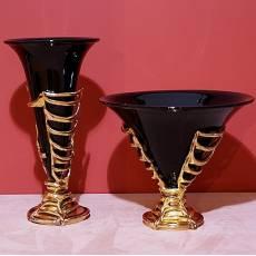 """Ваза """"Tinsel"""" (черная с золотом) VenturiArte 1171"""