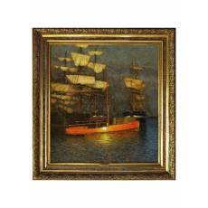 "Картина ""Парусники на рейде"" (Чирков) 1908 г 2ZH4"