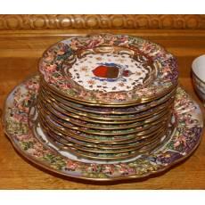 Набор: блюдо + 12 тарелок, Германия, Фолькштадт Рудольштадт, конец 19 века 5F28