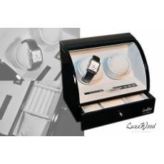 Шкатулка с автоподзаводом для 2-х часов с выдвижным ящиком для хранения 3 - х часов LuxeWood LW322-1