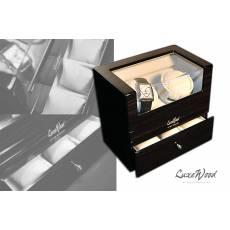 Шкатулка с автоподзаводом для 2-х часов с выдвижным ящиком для хранения 3-х часов LuxeWood LW412-5