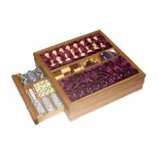 Большой игровой набор из дуба: шахматы, шашки, нарды, домино, карты, кости, покерные фишки Rovertime RTV-51