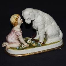 """Статуэтка """"Девочка с собакой"""" Porcellane Principe 665/PP"""