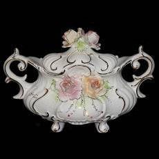 """Ваза для фруктов с крышкой """"Розовые розы"""" Ceramiche Ferraro BR 20"""