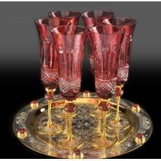 Набор фужеров для шампанского на блюде на 6 персон Златоуст Авторские работы RV0021689CG
