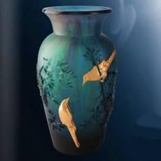 """Ваза для цветов """"Зима"""" синяя с золотыми птицами 8 экз. Daum 05294"""