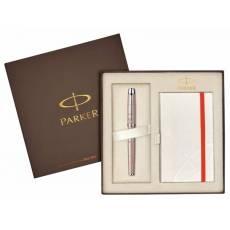 Подарочный набор: перьевая ручка Parker IM Premium F224 Pink Pearl CT + блокнот 1910298