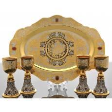 Набор коньячный (поднос, 4 бокала) Златоуст Авторские работы RV0017992CG