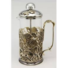 Чайник френч-пресс Розы (малый 350 мл) ЭМ138