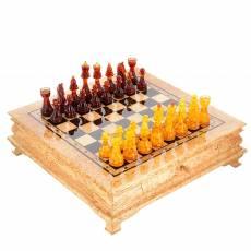 Шахматы деревянные с фигурами из янтаря RV0046911CG