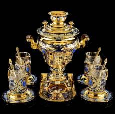 """Набор чайный с самоваром """"Лазуритовый"""" на 6 персон. Златоуст RV0039197CG"""
