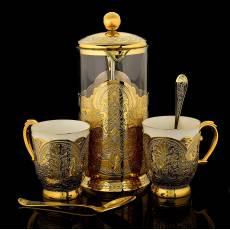 Заварник и 2 чашки с ложками Златоуст  RV26315CG