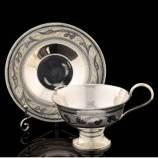 Чайная пара. Серебро 875, гравировка, чернение RV0029792CG