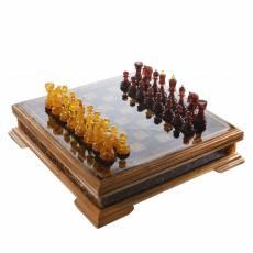 Шахматы деревянные с фигурами из янтаря RV0039292CG