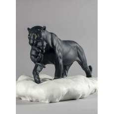 """Статуэтка """"Черная пантера с детенышем"""" Lladro 01009382"""