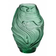 "Ваза для цветов зелёная ""Poissons Combattants"" Lalique 10671900"