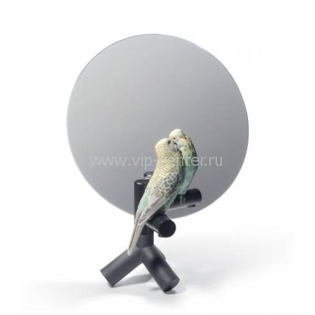 """Зеркало маленькое """"С попугаем"""" Lladro 01007849"""